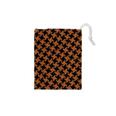 Houndstooth2 Black Marble & Rusted Metal Drawstring Pouches (xs)
