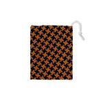 HOUNDSTOOTH2 BLACK MARBLE & RUSTED METAL Drawstring Pouches (XS)  Front