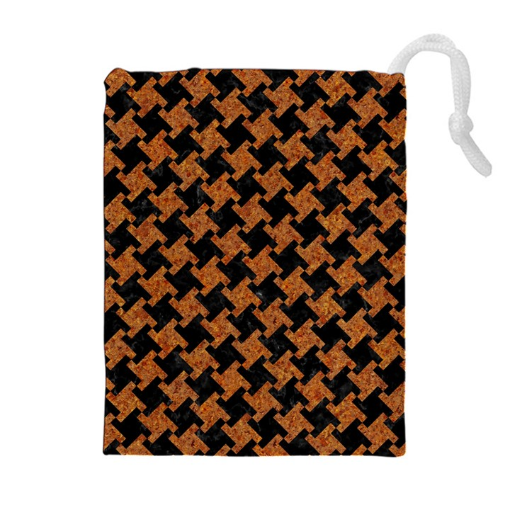 HOUNDSTOOTH2 BLACK MARBLE & RUSTED METAL Drawstring Pouches (Extra Large)