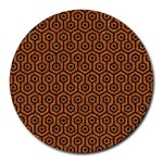 HEXAGON1 BLACK MARBLE & RUSTED METAL Round Mousepads Front
