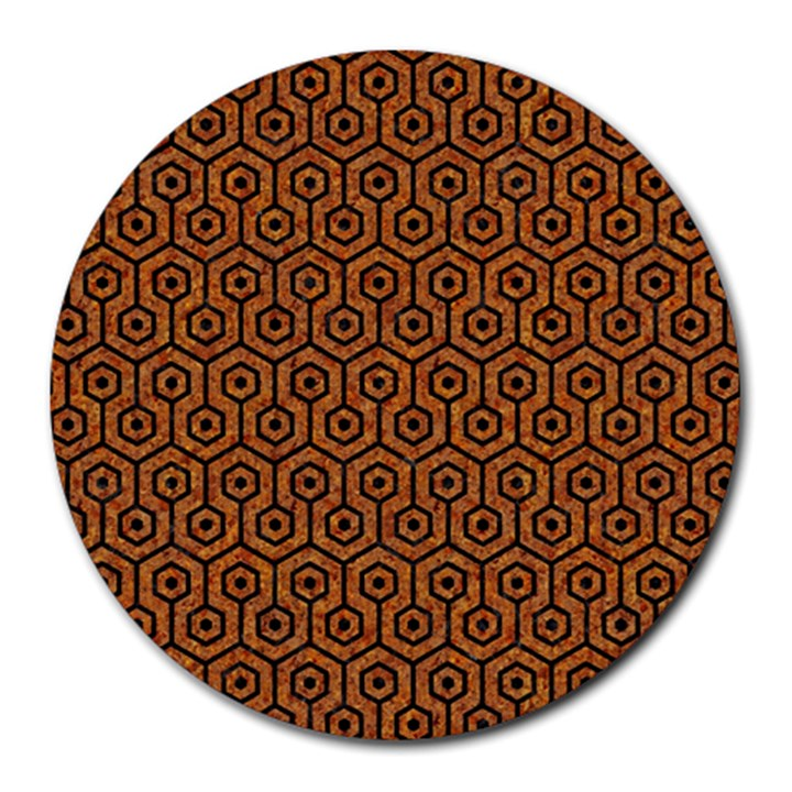 HEXAGON1 BLACK MARBLE & RUSTED METAL Round Mousepads