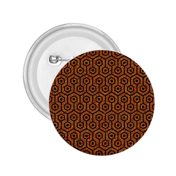 HEXAGON1 BLACK MARBLE & RUSTED METAL 2.25  Buttons