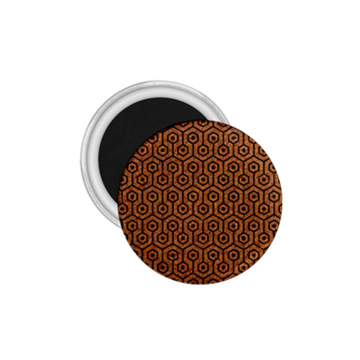 HEXAGON1 BLACK MARBLE & RUSTED METAL 1.75  Magnets