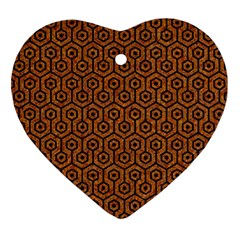 Hexagon1 Black Marble & Rusted Metal Ornament (heart)