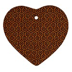 HEXAGON1 BLACK MARBLE & RUSTED METAL Ornament (Heart) Front
