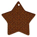 HEXAGON1 BLACK MARBLE & RUSTED METAL Ornament (Star) Front