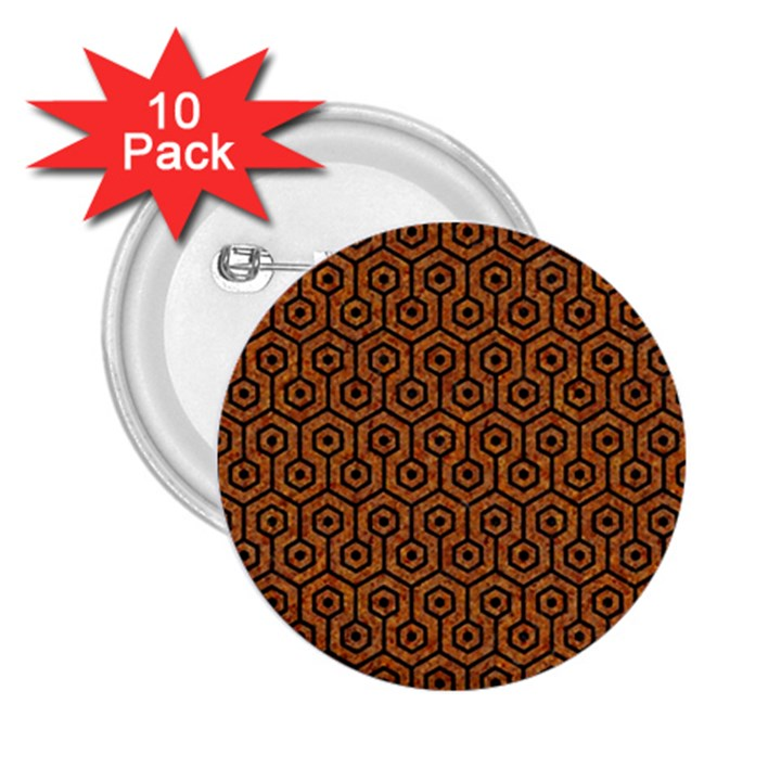 HEXAGON1 BLACK MARBLE & RUSTED METAL 2.25  Buttons (10 pack)