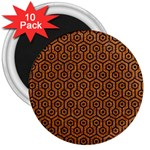 HEXAGON1 BLACK MARBLE & RUSTED METAL 3  Magnets (10 pack)  Front