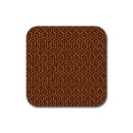 HEXAGON1 BLACK MARBLE & RUSTED METAL Rubber Coaster (Square)  Front