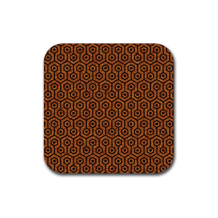 HEXAGON1 BLACK MARBLE & RUSTED METAL Rubber Coaster (Square)