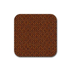 Hexagon1 Black Marble & Rusted Metal Rubber Square Coaster (4 Pack)