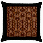 HEXAGON1 BLACK MARBLE & RUSTED METAL Throw Pillow Case (Black) Front