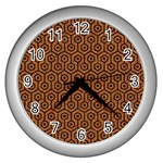 HEXAGON1 BLACK MARBLE & RUSTED METAL Wall Clocks (Silver)  Front