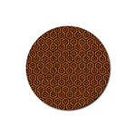 HEXAGON1 BLACK MARBLE & RUSTED METAL Rubber Coaster (Round)  Front