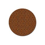 HEXAGON1 BLACK MARBLE & RUSTED METAL Magnet 3  (Round) Front