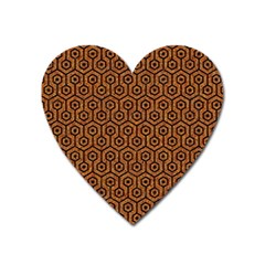 Hexagon1 Black Marble & Rusted Metal Heart Magnet