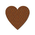 HEXAGON1 BLACK MARBLE & RUSTED METAL Heart Magnet Front