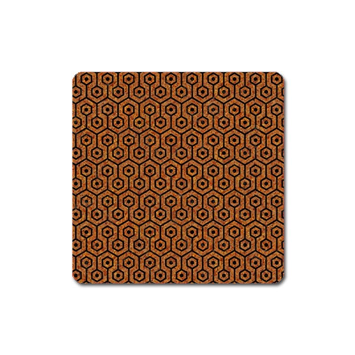 HEXAGON1 BLACK MARBLE & RUSTED METAL Square Magnet