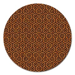 Hexagon1 Black Marble & Rusted Metal Magnet 5  (round)