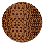 HEXAGON1 BLACK MARBLE & RUSTED METAL Magnet 5  (Round) Front