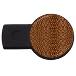 HEXAGON1 BLACK MARBLE & RUSTED METAL USB Flash Drive Round (2 GB) Front