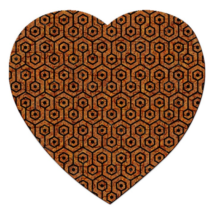 HEXAGON1 BLACK MARBLE & RUSTED METAL Jigsaw Puzzle (Heart)