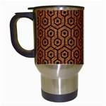 HEXAGON1 BLACK MARBLE & RUSTED METAL Travel Mugs (White) Left