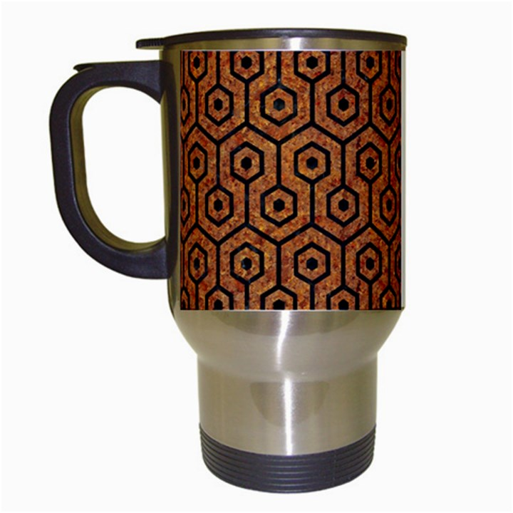 HEXAGON1 BLACK MARBLE & RUSTED METAL Travel Mugs (White)