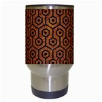 HEXAGON1 BLACK MARBLE & RUSTED METAL Travel Mugs (White) Center