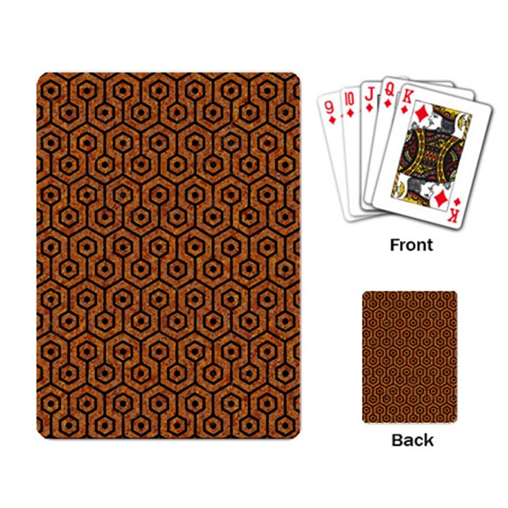 HEXAGON1 BLACK MARBLE & RUSTED METAL Playing Card