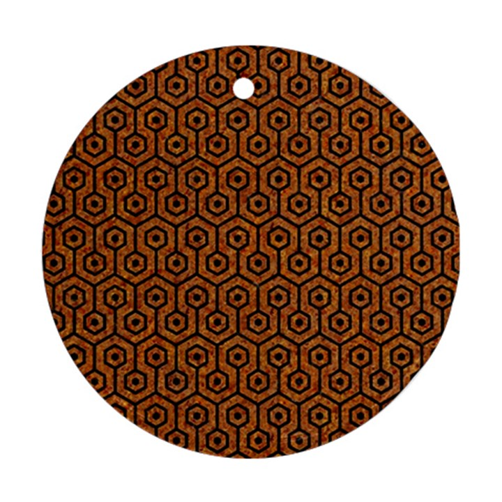 HEXAGON1 BLACK MARBLE & RUSTED METAL Round Ornament (Two Sides)