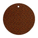 HEXAGON1 BLACK MARBLE & RUSTED METAL Round Ornament (Two Sides) Back