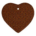 HEXAGON1 BLACK MARBLE & RUSTED METAL Heart Ornament (Two Sides) Front