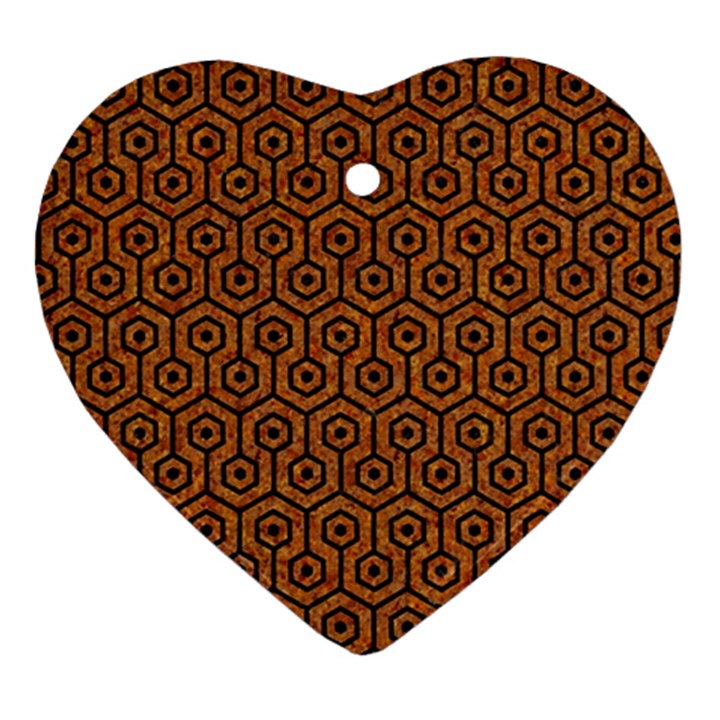 HEXAGON1 BLACK MARBLE & RUSTED METAL Heart Ornament (Two Sides)