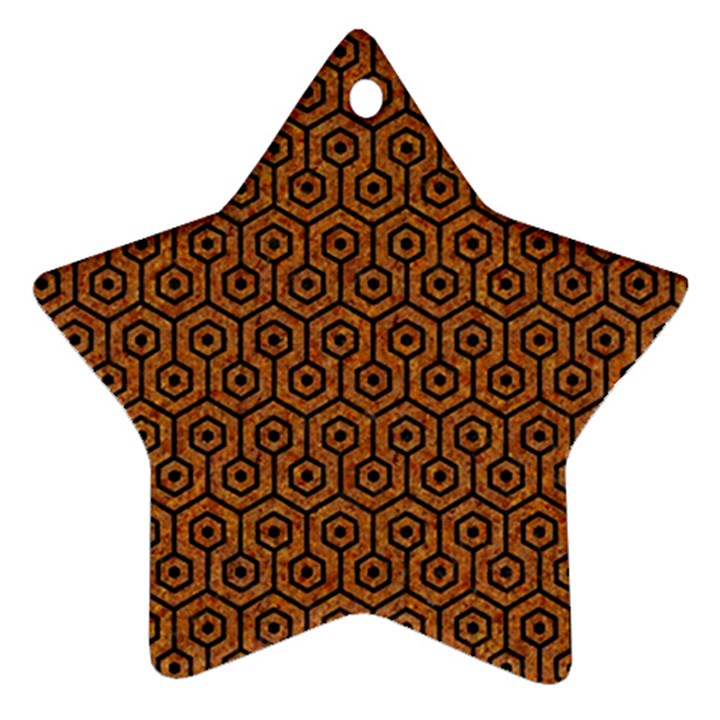 HEXAGON1 BLACK MARBLE & RUSTED METAL Star Ornament (Two Sides)