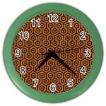 HEXAGON1 BLACK MARBLE & RUSTED METAL Color Wall Clocks Front