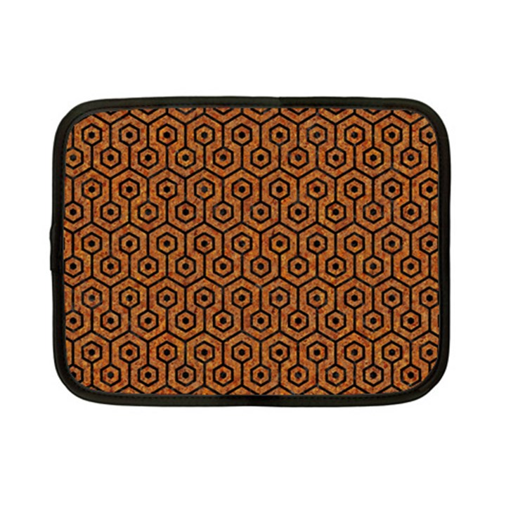 HEXAGON1 BLACK MARBLE & RUSTED METAL Netbook Case (Small)