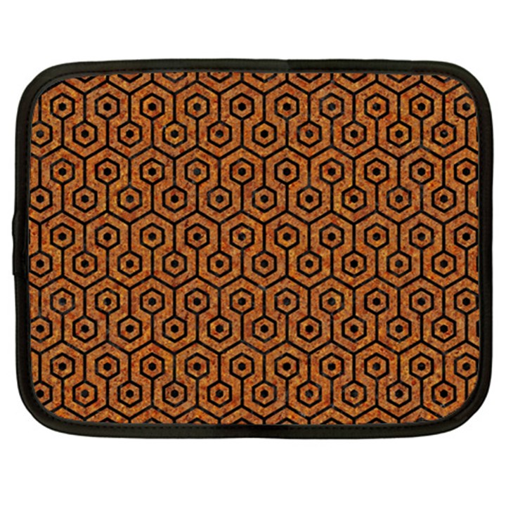 HEXAGON1 BLACK MARBLE & RUSTED METAL Netbook Case (XL)
