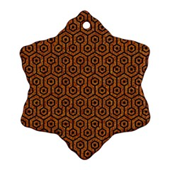 Hexagon1 Black Marble & Rusted Metal Snowflake Ornament (two Sides)