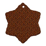 HEXAGON1 BLACK MARBLE & RUSTED METAL Snowflake Ornament (Two Sides) Front