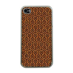 Hexagon1 Black Marble & Rusted Metal Apple Iphone 4 Case (clear)