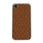 HEXAGON1 BLACK MARBLE & RUSTED METAL Apple iPhone 4 Case (Clear) Front