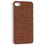 HEXAGON1 BLACK MARBLE & RUSTED METAL Apple iPhone 4/4s Seamless Case (White) Front