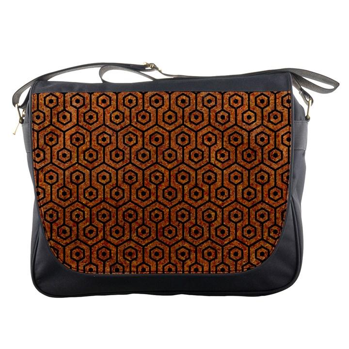HEXAGON1 BLACK MARBLE & RUSTED METAL Messenger Bags