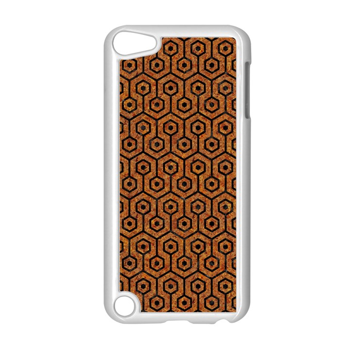 HEXAGON1 BLACK MARBLE & RUSTED METAL Apple iPod Touch 5 Case (White)