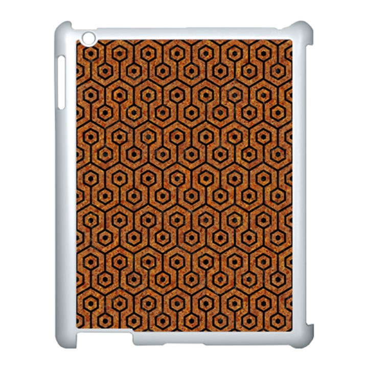 HEXAGON1 BLACK MARBLE & RUSTED METAL Apple iPad 3/4 Case (White)