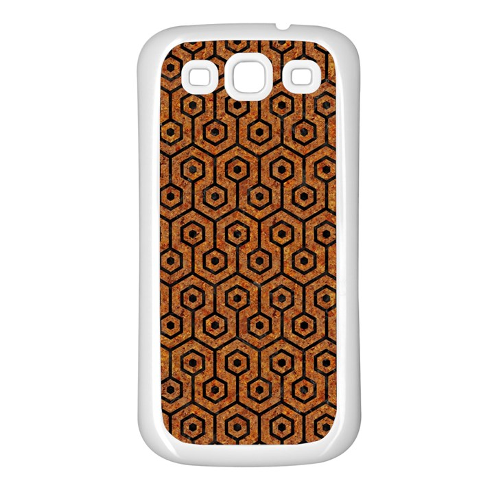 HEXAGON1 BLACK MARBLE & RUSTED METAL Samsung Galaxy S3 Back Case (White)