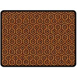 HEXAGON1 BLACK MARBLE & RUSTED METAL Double Sided Fleece Blanket (Large)  80 x60 Blanket Front