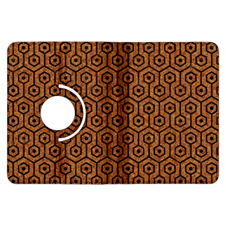 HEXAGON1 BLACK MARBLE & RUSTED METAL Kindle Fire HDX Flip 360 Case