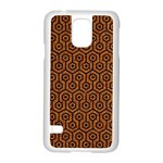 HEXAGON1 BLACK MARBLE & RUSTED METAL Samsung Galaxy S5 Case (White) Front